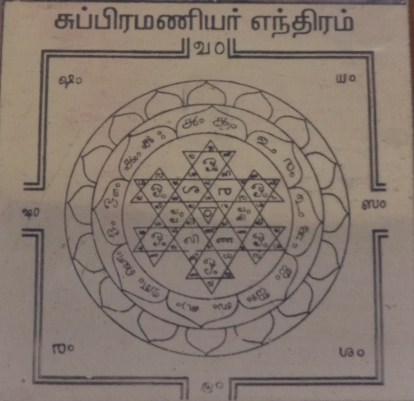 Subramanya Yantra and moola mantra for yantra